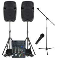 "Complete PA System with Ekho 10"" Active Speakers, Studiomaster Mixer, Microphone & Stands"