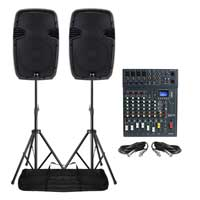 Pair Ekho RS12A Speakers with Mixer and Stands 600W