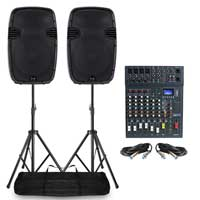 Pair Ekho RS15A Speakers with Mixer and Stands 800W