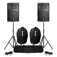 "Pair Active DJ Speakers PA Pro Bi-Amp System Bluetooth 12"" 2800W + STANDS BAGS"