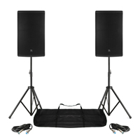 "Pair Active DJ Speakers PA Pro Bi-Amp Disco System Bluetooth 15"" 2800W + STANDS"