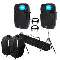 "Ekho RS15A V3 3200W IPP Active DJ PA Club 15"" Speaker Stereo Package With Stands"