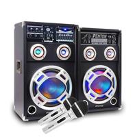 800W 6.5 PA Active Speaker Bluetooth Set Built In LED Lights & DJ Microphones UK Stock