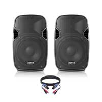 "Pair of Active Powered 8"" Mobile DJ PA Disco Speakers with Cables 400 Watts"
