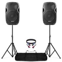 "Vonyx AP1200 12"" Active DJ Speakers Pair + Stands"