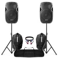 "Active Powered 12"" Bluetooth DJ PA Disco Speakers + Stands, Bags & Cables 1200W"