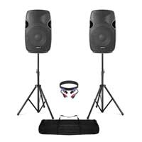 "Pair of Active Powered 10"" Mobile DJ PA Disco Speakers with Stands & Cables 800W"