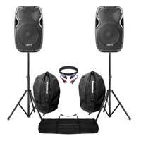 "Vonyx AP1200 12"" Active DJ Speakers Pair, Stands & Bags"