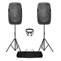 """Vonyx AP1500A 15"""" Active DJ Speakers Pair, Stands & Cable"""