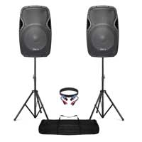 2x Vonyx 15 inch Powered Bluetooth Speaker Set with Stands