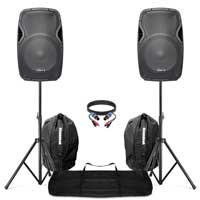 "Complete PA System with 15"" AP1500ABT Bluetooth Speakers, Stands & Bags"