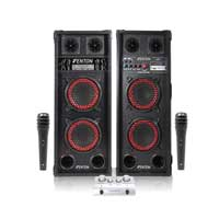 Fenton SPB-26 Karaoke Speakers, Mixer & Microphone Pair