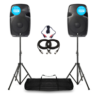 "Skytec 12"" Active Powered DJ Speakers PA System with Stands 1200W"