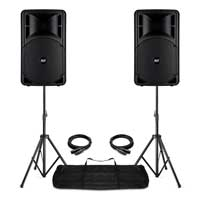 Pair RCF ART 315-A Mk4 Active PA Speakers, Stands with Gig Bag Live Sound 800W