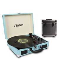 Fenton RP115 Blue Briefcase Record Player with Record Case