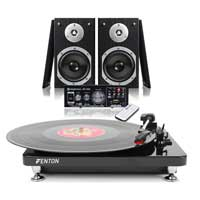 Modern Black LP Record Player, Hi-Fi Stereo Speakers and Amplifier USB/FM/SD Set