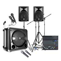 Complete DJ PA System with VX800BT Active Speaker, 10 Channel Mixer & Microphones