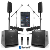 Complete DJ PA System with VX1000BT Active Speakers, 6 Channel Mixer & Microphones