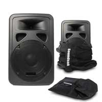 """Skytec SP1000A 10"""" Active PA Speaker Pair with Bags"""