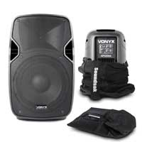 """Vonyx AP1000A 10"""" Active PA Speaker Pair with Bags"""