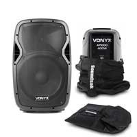 Pair of Vonyx 12 Inch Passive DJ Speakers 1200W SoundSak Universal Carry Bags
