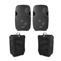 "Vonyx AP800A 8"" Active PA Speaker Pair & Bags"
