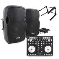 AP1200A Active DJ PA Club 12 Inch Speaker, MIDI Controller & Mixer Stand Set