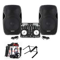 AP1500A Active DJ PA Club 15 Inch Speaker, MIDI Controller & Mixer Stand Set