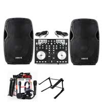 "AP1200A Active DJ PA 12"" Speaker, MIDI Controller, Mixer Stand & Microphone Set"