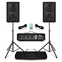 Complete Live PA Speaker System 400w with 4 Channel Mixer Amplifer & Stands