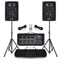 "Complete Band PA System with Max 8"" Speakers, 8 Channel Mixer & Stands"