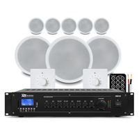 "PD CSPB5 5"" Ceiling Speaker 100V Line, Set of 8 with PRM120 Amplifier & 2 Volume Control"