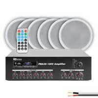 "PD CSPB5 5"" Ceiling Speaker 100V Line, Set of 6 with PBA30 Amplifier"
