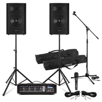 Complete Band PA System with SL10 Passive Speakers, 4 Channel Mixer Amp, Microphone & Stands