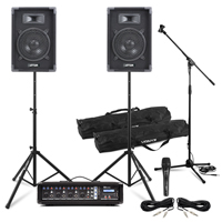Complete Band PA System Max8 Speakers, 4 Channel Mixer Amp, Microphone & Stands