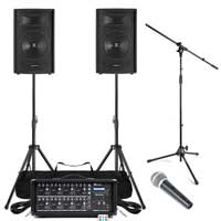 Complete Band PA System with SL10 Passive Speakers, 8 Channel Mixer Amp, Microphone & Stands