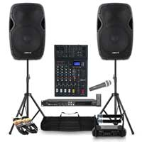 Complete Karaoke PA System with AP1500A Speakers, Mixer, Microphones & Stands