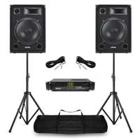 """Max SP15 15"""" Passive DJ Speaker Pair, Stands & VXA-1500 Amplifier"""