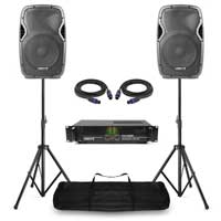 "Vonyx AP1200 12"" Passive DJ/PA Speaker Pair, Stands & VXA-1500 Amplifier"