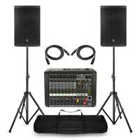 "Complete PA System with PD412P 12"" Passive Speakers, 8 Channel Mixer, Stands & Bag"