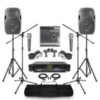 Complete Band PA System with AP1200 Passive Speakers, 6 Channel Mixer, Amplifier, Microphone & Stand