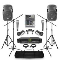 Complete Band PA System with AP1200 Passive Speakers, 4 Channel Mixer, Amplifier, Microphone & Stand
