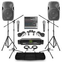 Complete Band PA System with AP1500 Passive Speakers, 8 Channel Mixer, Microphone & Stands