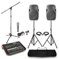 Complete PA System with Vonyx AP1200 Passive Speakers, Mixer with Amplifier, Microphone & Stands