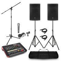 "Complete PA System with PD 12"" Passive Speakers, Mixer with Amplifier, Microphone & Stands"