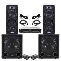 """Max Dual 8"""" Passive DJ Speaker Pair, MAX12SUB Subwoofer & VXA-1200 Amplifier"""