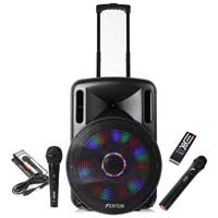 Fenton FT15LED Portable PA System with Wireless Mic & Wired Mic