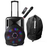 Fenton FT15LED Portable PA System with Wireless Mic & Bag