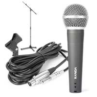Vonyx DM58 Dynamic Microphone, 165cm Stand & Clamp