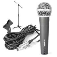 Vonyx DM58 Dynamic Microphone, 158cm Stand & Clamp
